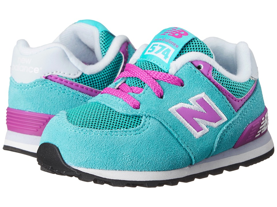 New Balance Kids - KL574 (Infant/Toddler) (Blue/Pink) Girls Shoes