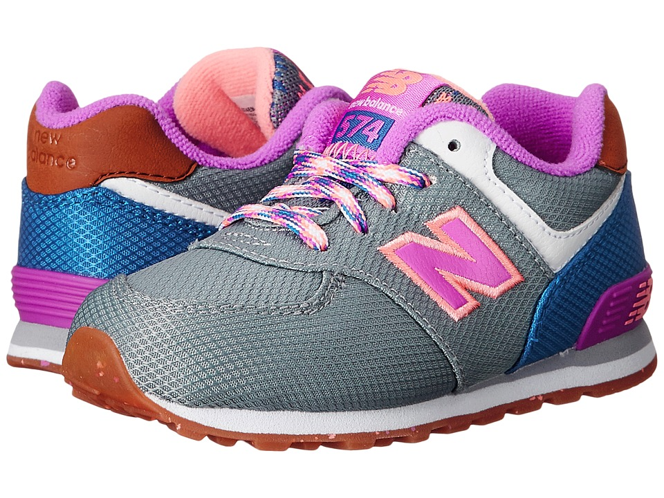 New Balance Kids - KL574 (Infant/Toddler) (Grey/Pink) Girls Shoes