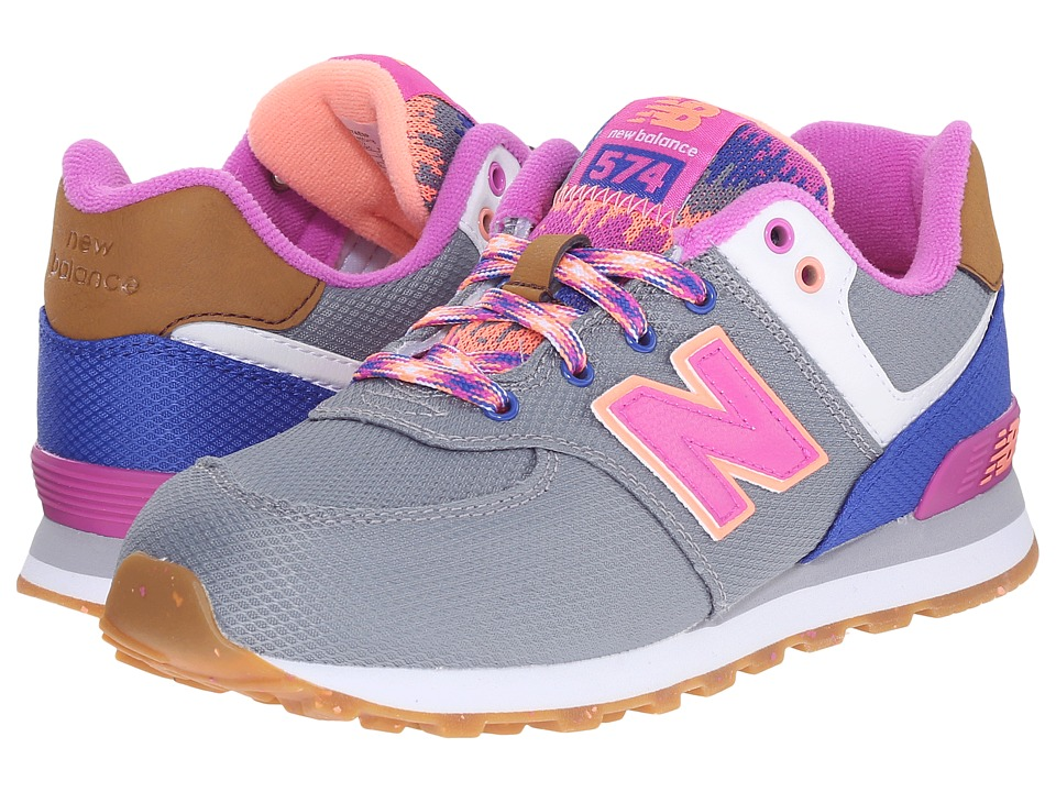 New Balance Kids - KL574 (Little Kid) (Grey/Pink) Girls Shoes