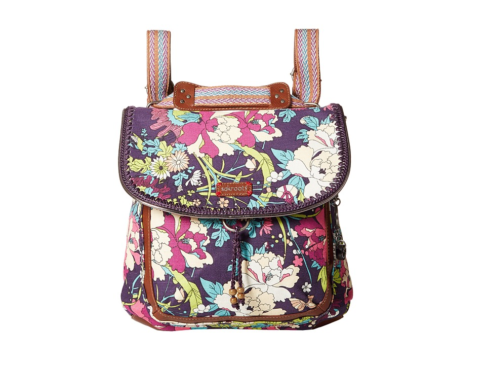 Sakroots - Artist Circle Convertible Backpack (Violet Flower Power) Backpack Bags