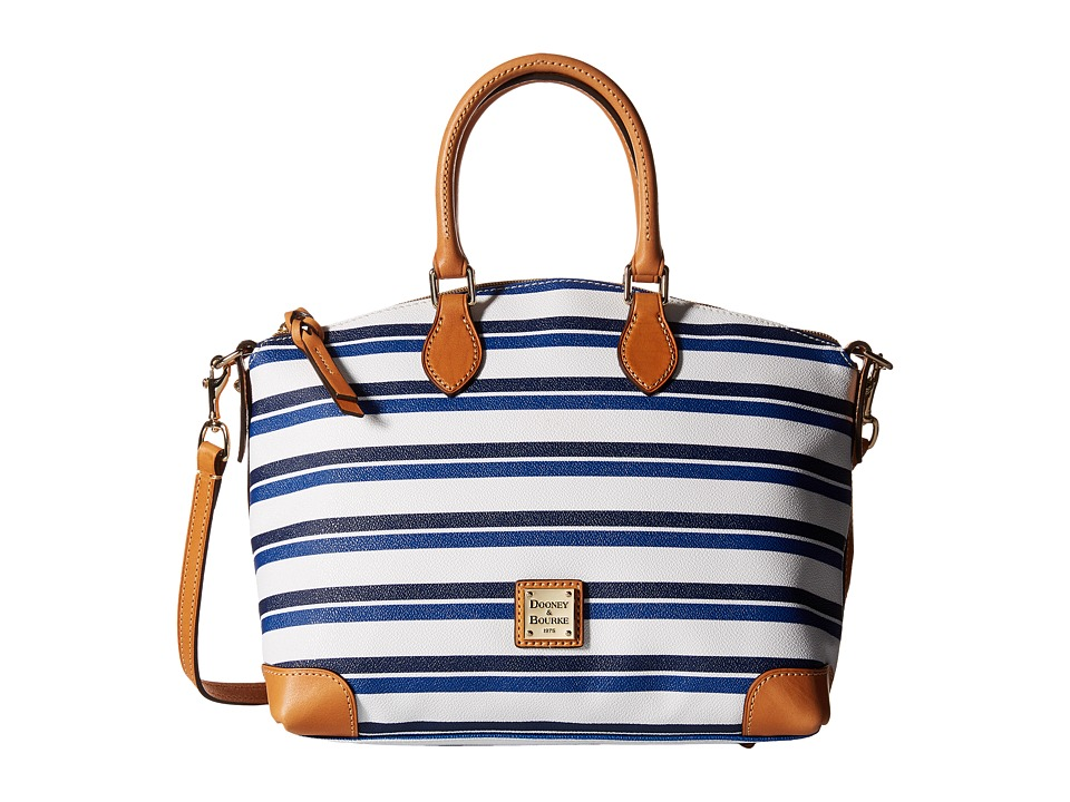 Dooney & Bourke - Stonington Satchel (Blue/Navy/White/Butterscotch) Satchel Handbags
