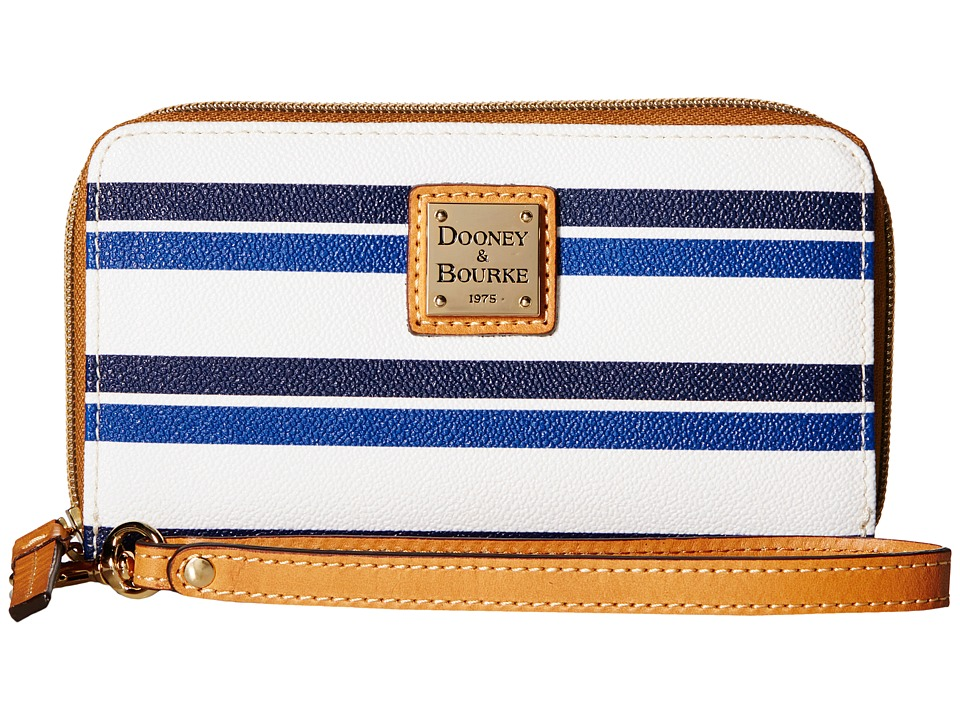 Dooney & Bourke - Stonington Zip Around Phone Wristlet (Blue/Navy/White/Butterscotch) Wristlet Handbags