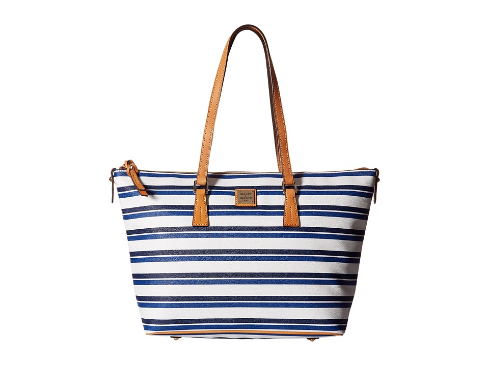 Dooney & Bourke - Stonington Zip Top Shopper (Blue/Navy/White/Butterscotch) Top-Zip Handbags