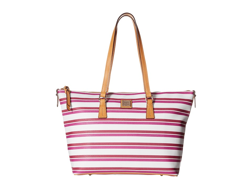 Dooney & Bourke - Stonington Zip Top Shopper (Magenta/Orchid/White/Butterscotch) Top-Zip Handbags
