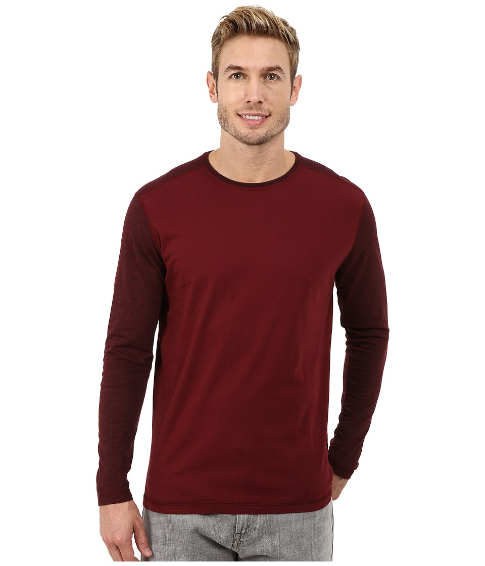 Agave Denim - Long Sleeve Vee Streaky Jersey Color Block (Cabernet) Men's Long Sleeve Pullover