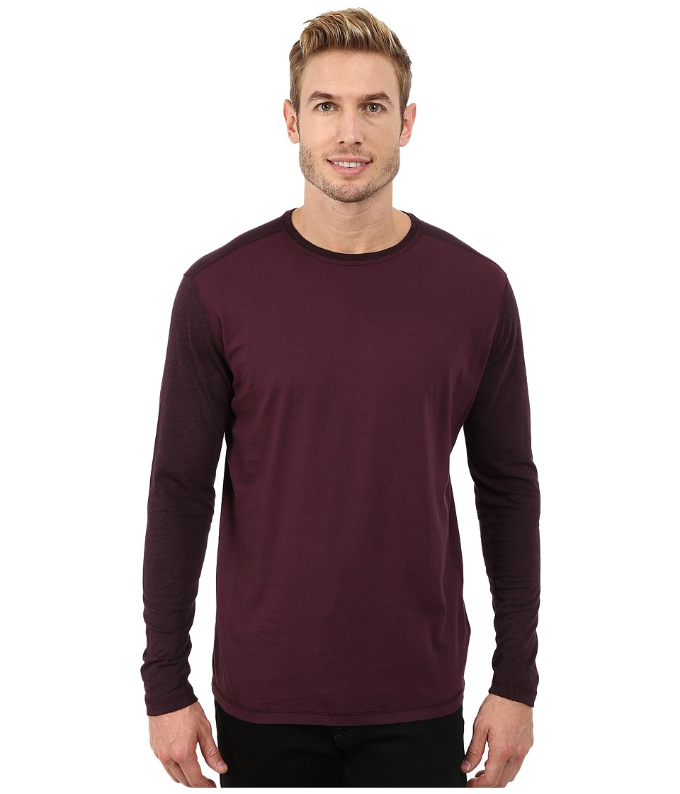 Agave Denim - Long Sleeve Vee Streaky Jersey Color Block (Plum Perfect) Men