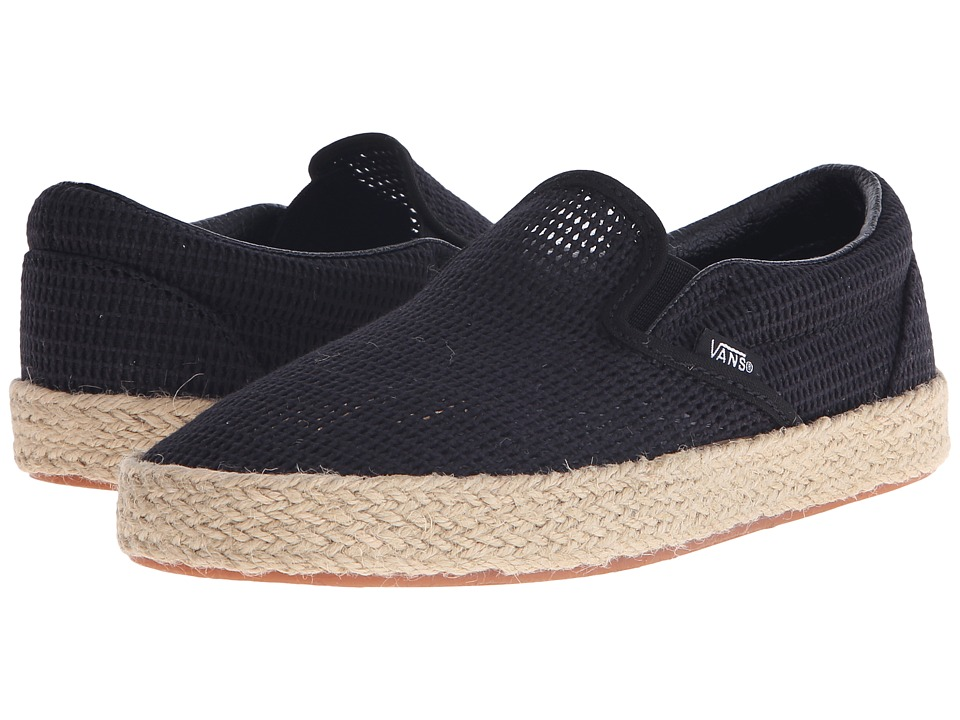 Vans - Classic Slip-On Espadrille ((Mesh) Black) Slip on Shoes