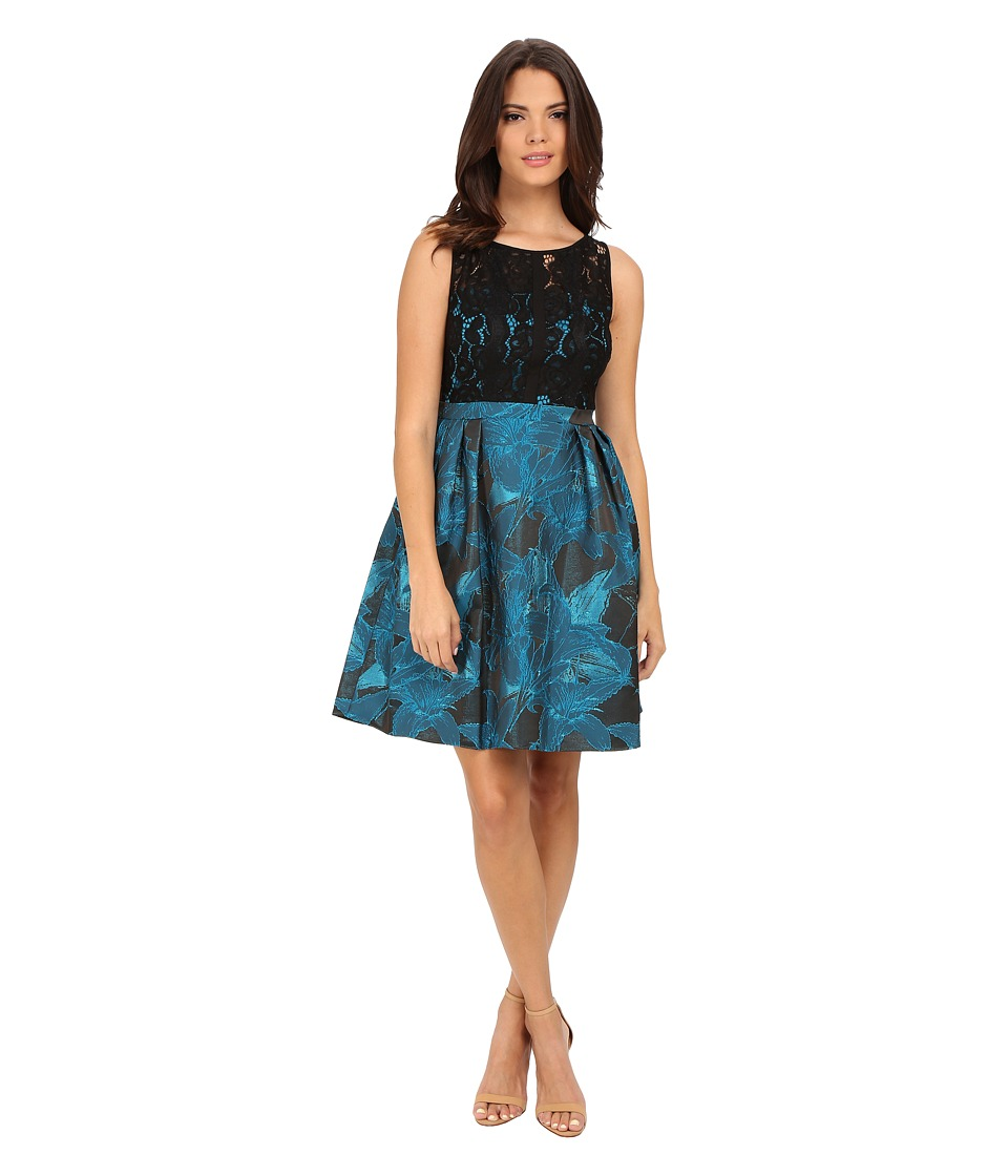 Adrianna Papell - Lace and Jacquard Fit and Flare Dress (Black/Turquoise) Women