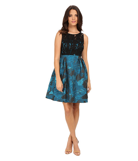 Adrianna Papell - Lace and Jacquard Fit and Flare Dress (Black/Turquoise) Women's Dress