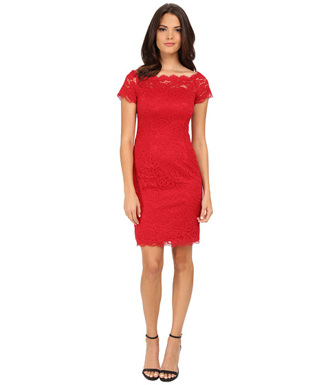 Adrianna Papell - Off The Shoulder Lace Sheath (Cardinal) Women's Dress