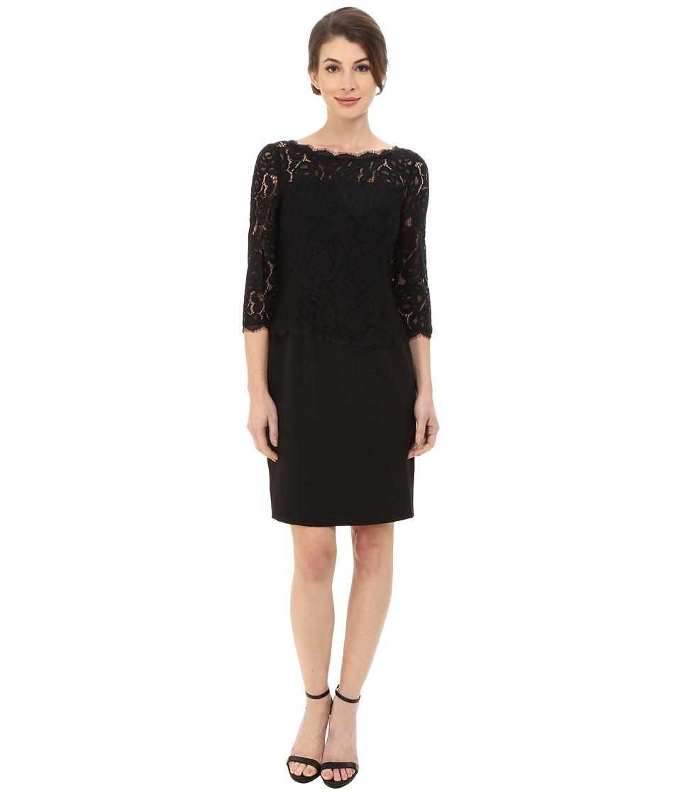 Adrianna Papell Bateau Neck Long Sleeve Lace Overlay (Black) Women