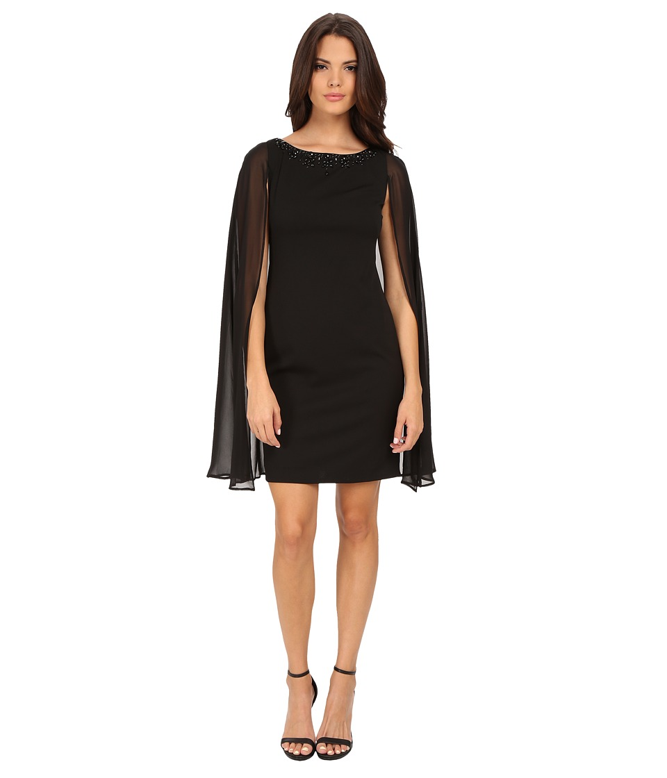 Adrianna Papell - Cape with Beaded Neckline Sheath Dress (Black) Women's Dress