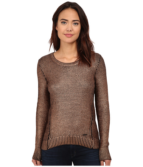 Calvin Klein Jeans - Foil Printed Texture Crew Sweater (Copper) Women's Sweater