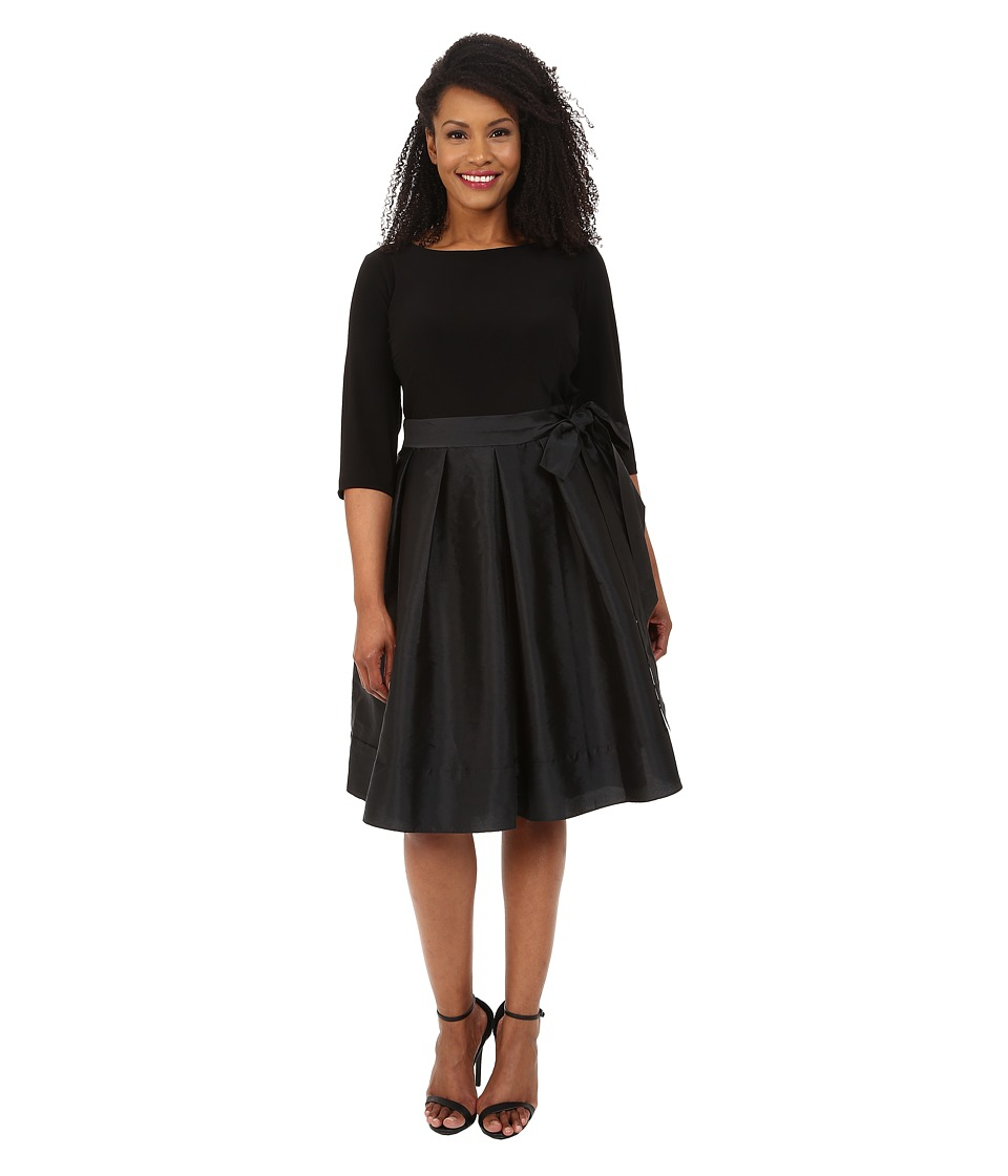 Adrianna Papell Plus Size Taffeta Twofer Fit and Flare Black Dress