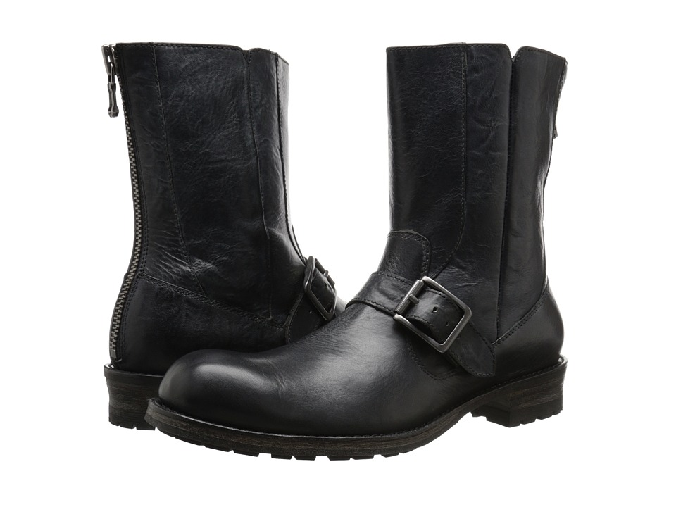 John Varvatos - Lincoln Moto Boot (Mineral Black) Men's Pull-on Boots