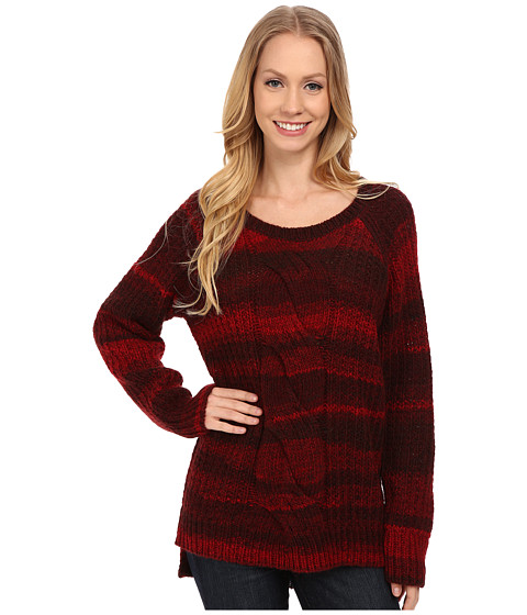 Calvin Klein Jeans - Ombre Cable Crew Neck Sweater (Cherry Red) Women