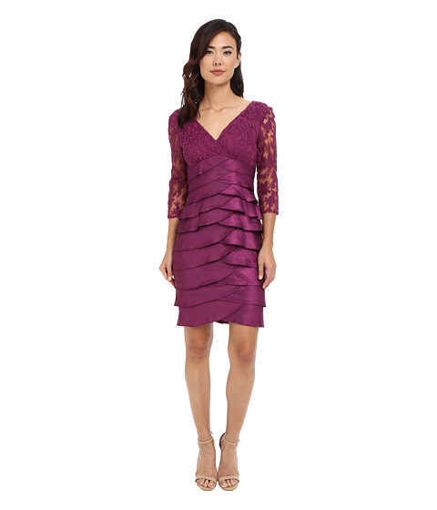 Adrianna Papell - Shimmer Shutter Tuck Lace Dress (Plum) Women's Dress