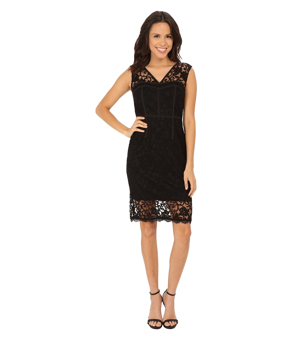 Adrianna Papell Illusion Hem Sheath with Strapping Black Dress