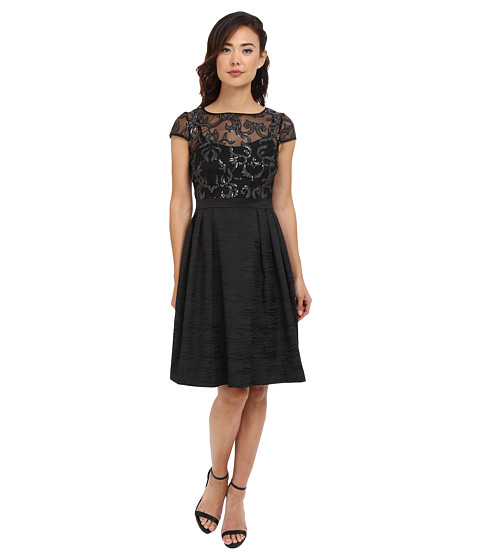Adrianna Papell - Baroque Sequin Illusion Fit and Flare (Black/Silver) Women's Dress