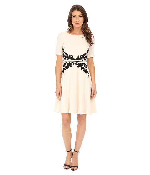Adrianna Papell - Applique Fit and Flare Dress (Cream/Black) Women's Dress
