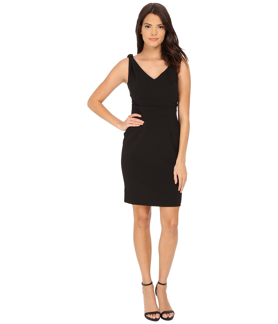 Adrianna Papell - Knotted Shoulder with Drapped Waist (Black) Women's Dress