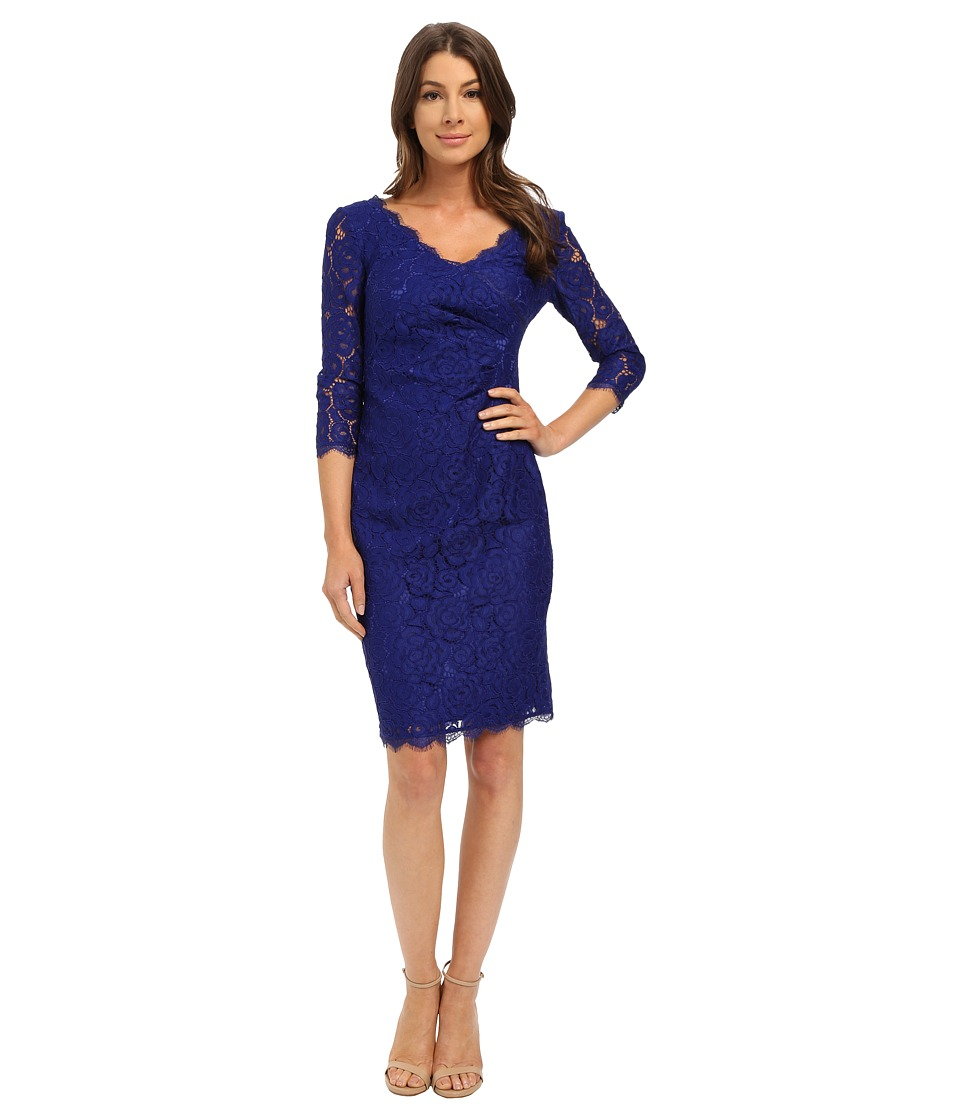 Adrianna Papell - Juliet Lace Pleated Dress (Iris) Women's Dress