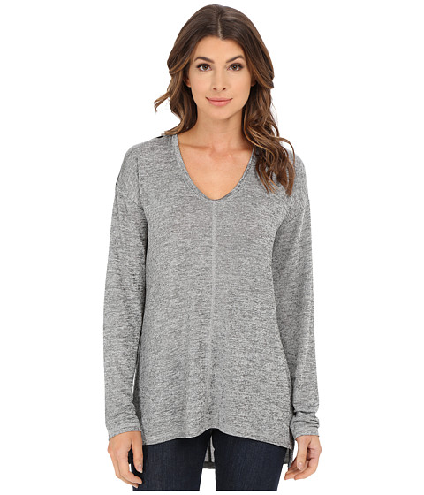 Calvin Klein Jeans - Long Sleeve Slinky Top (Iron Heather) Women's T Shirt