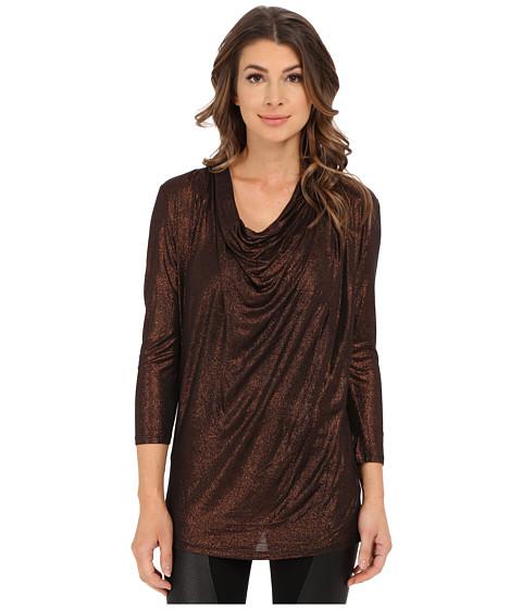 Calvin Klein Jeans - Foiled Cowl Neck Top (Copper) Women's T Shirt