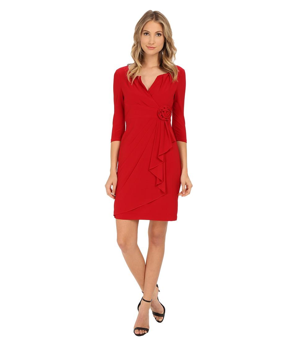 Image of Adrianna Papell - 3/4 Sleeve Lap Over Dress (Cardinal) Women's Dress