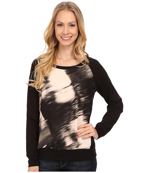 Calvin Klein Jeans - Long Sleeve Printed Voyeur Sweatshirt (Peach Tint) Women's Sweatshirt