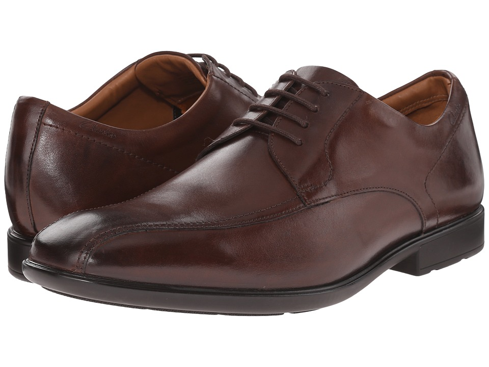 Clarks - Gosworth Over (Walnut Leather) Men's Lace Up Wing Tip Shoes