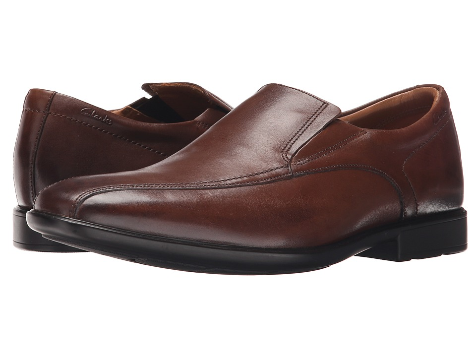 Clarks - Gosworth Step (Walnut Leather) Men's Slip-on Dress Shoes
