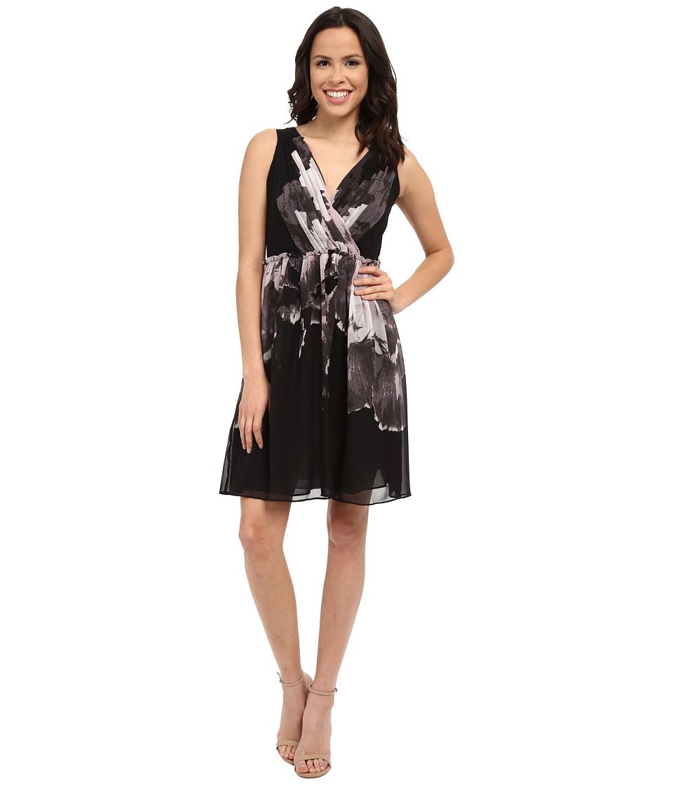 Adrianna Papell Deep V-Neck Gathered Waist Fit and Flare Dress
