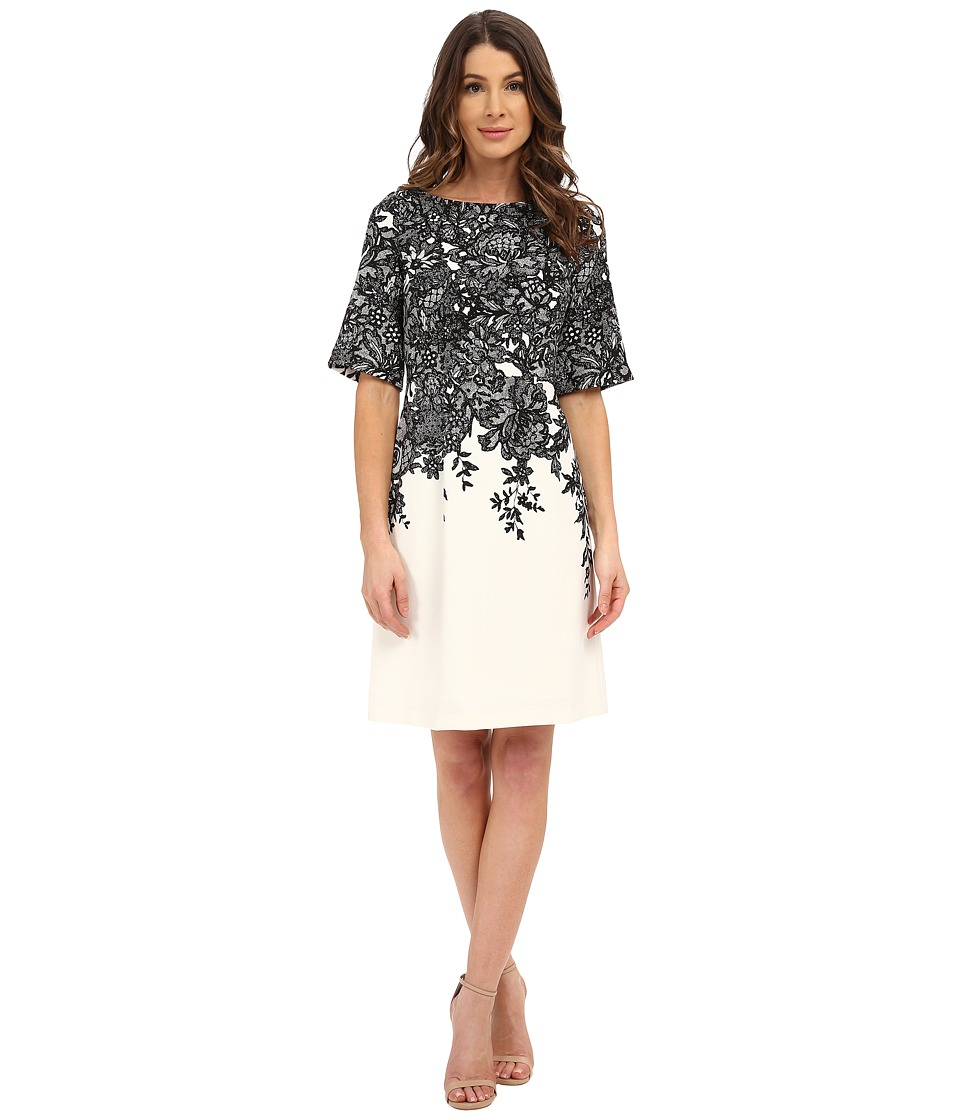 Adrianna Papell - Elbow Length Bell Sleeve A-Line Dress with Lace Print (Black/Ivory) Women's Dress