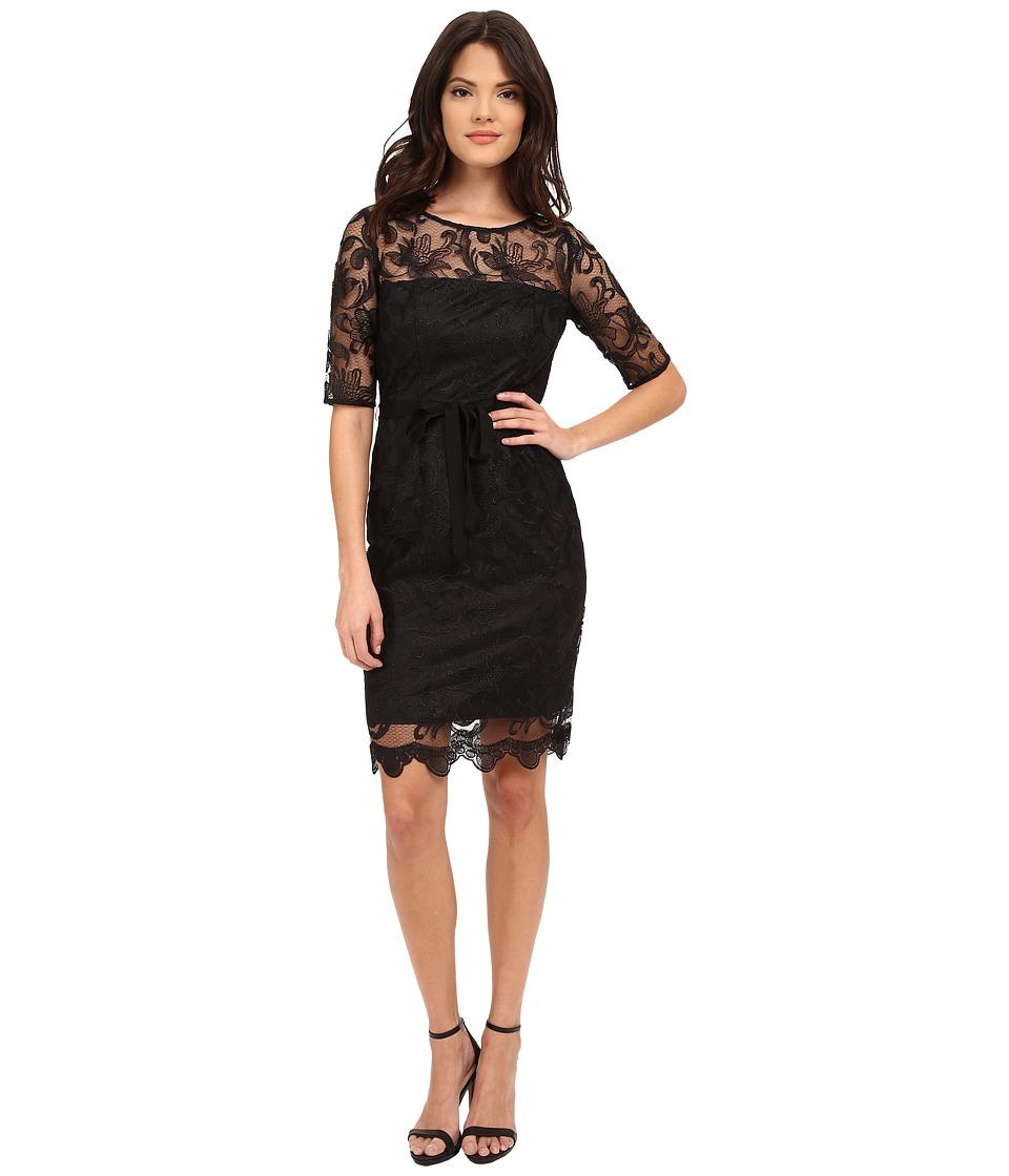 Adrianna Papell - Elbow Sleeve Illusion Sheath Dress (Black) Women's Dress