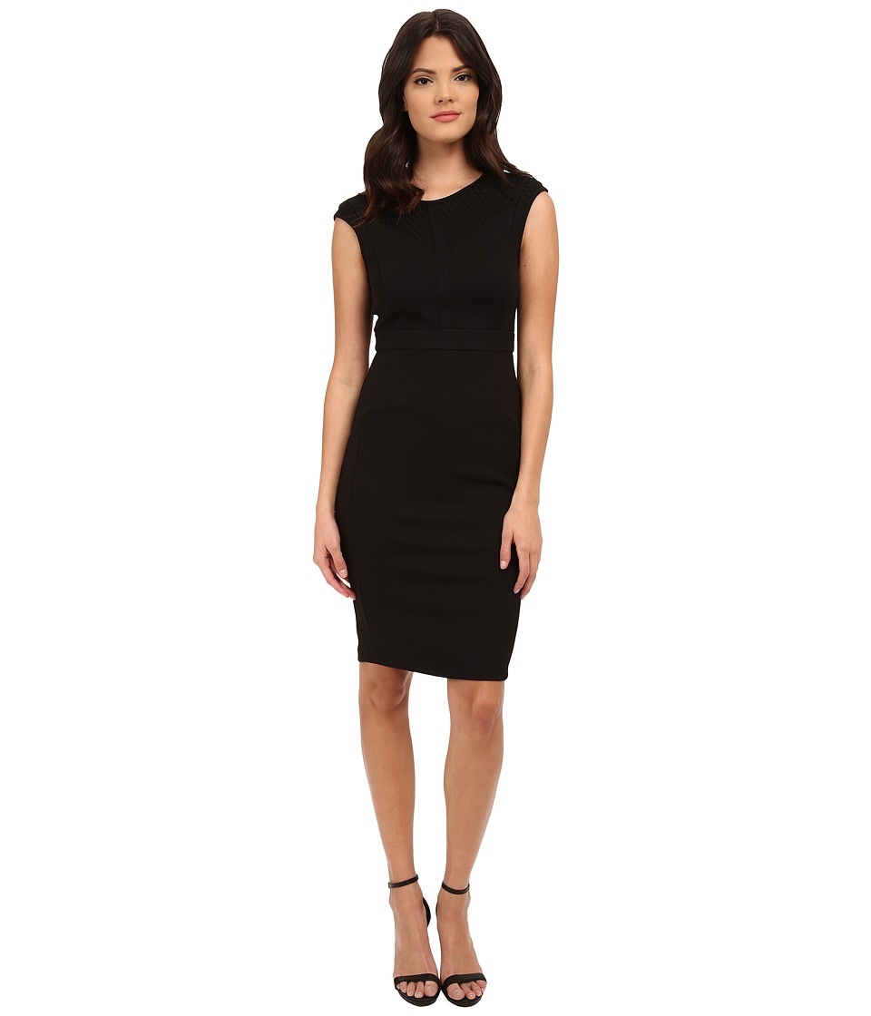 Adrianna Papell - Scoop Neck Cap Sleeve Bodycon Dress Combined with Hexagon Lace (Black) Women's Dress