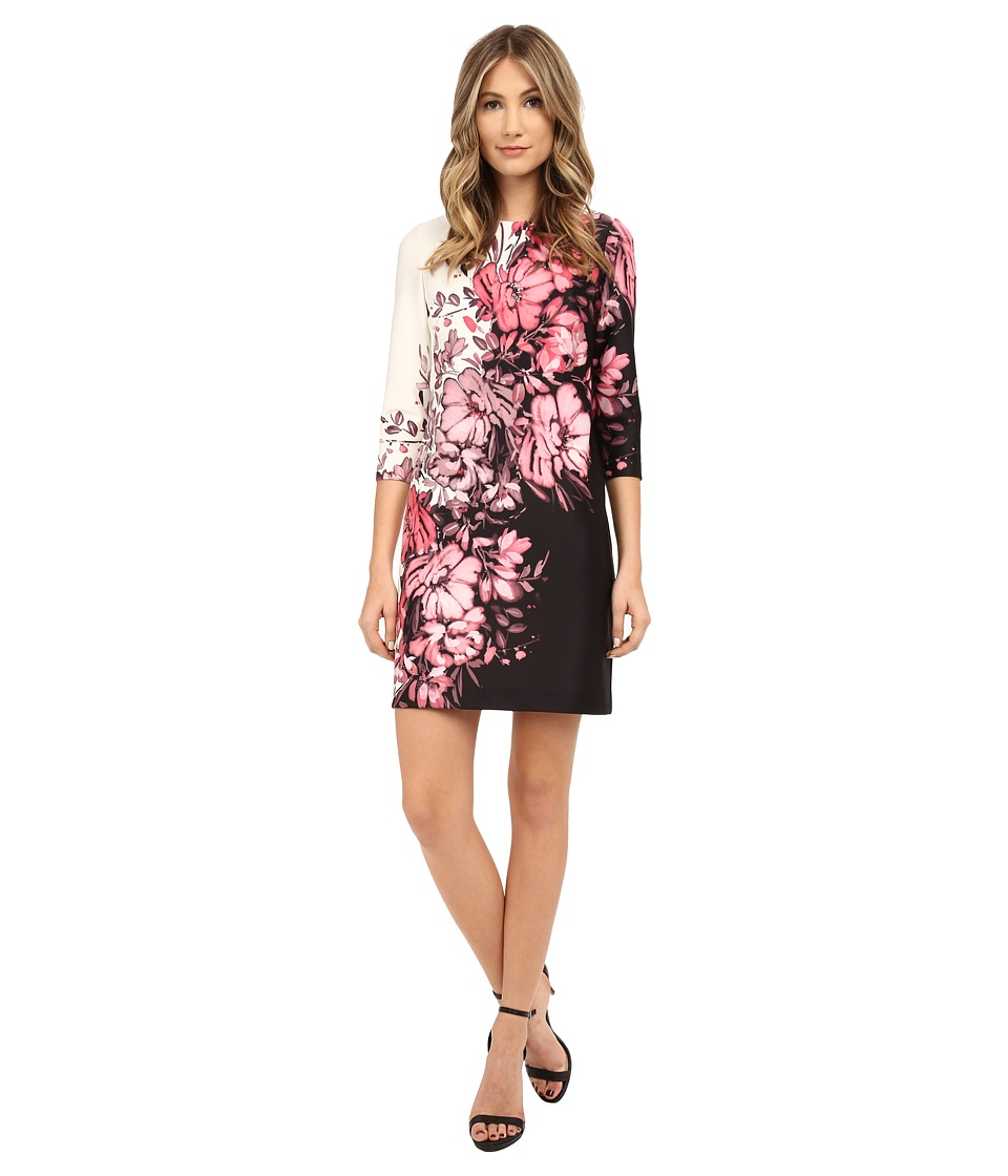 Adrianna Papell - Floral Printed Scuba Dress with Gathering at Neck (Black/Pink) Women's Dress