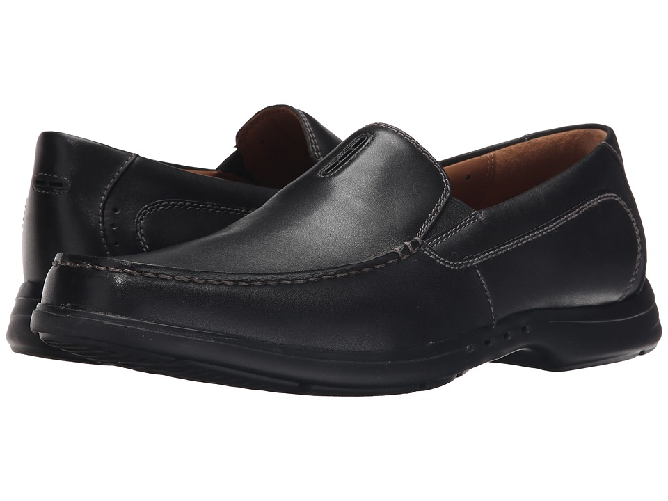 Clarks - Un.Easley Twin (Black Leather) Men's Slip on Shoes