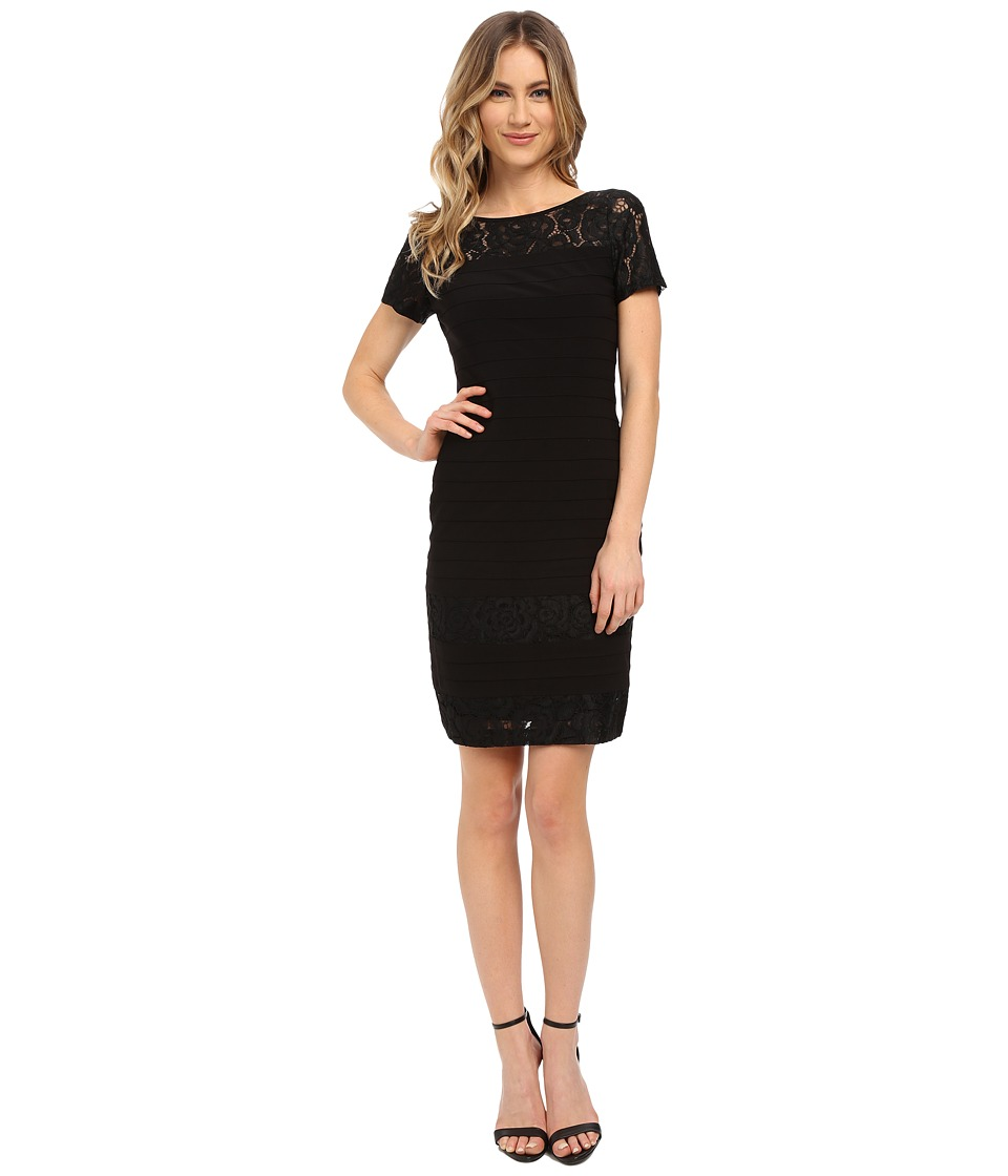 Adrianna Papell Diagonal Stitched Bands Bodycon Dress (Black) Women
