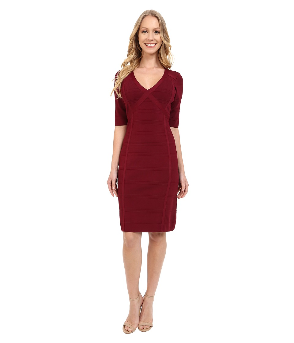 Adrianna Papell - V-Neck Bodycon Sweater Dress (Beet Red) Women's Dress