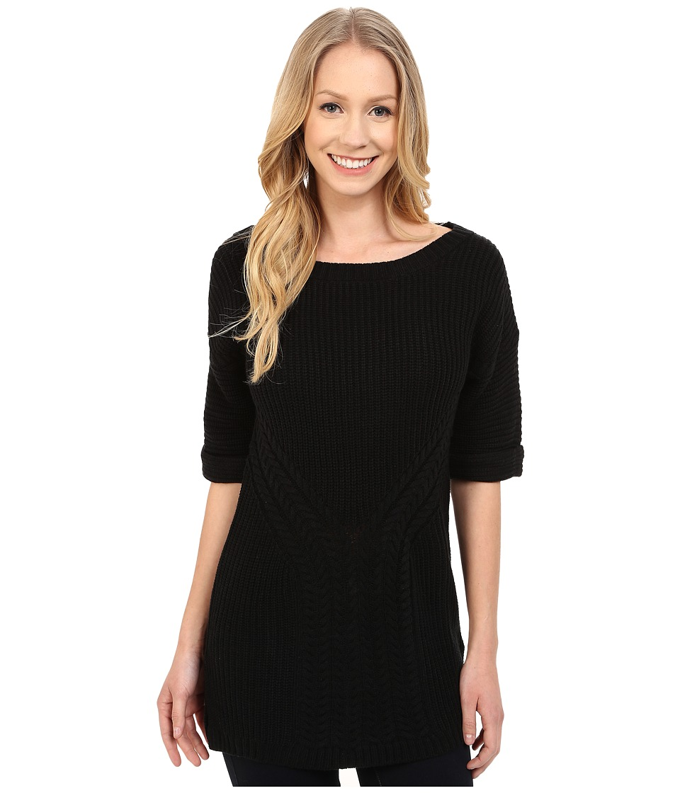 Calvin Klein Jeans - Traveling Cable Short Sleeve Tunic (Black) Women's Sweater