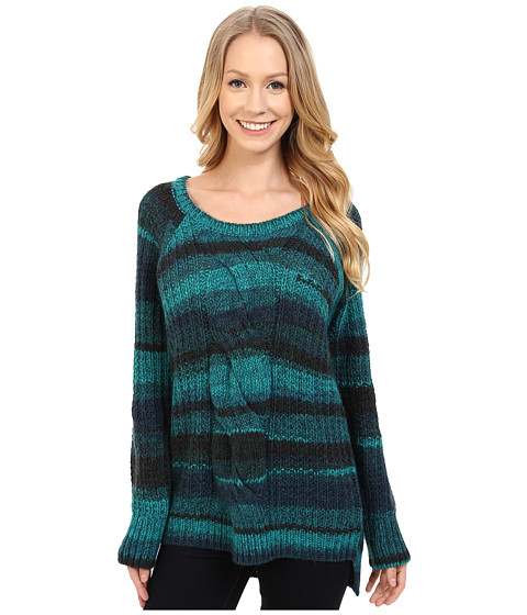 Calvin Klein Jeans - Ombre Cable Crew Neck Sweater (Deep Turquoise) Women's Sweater