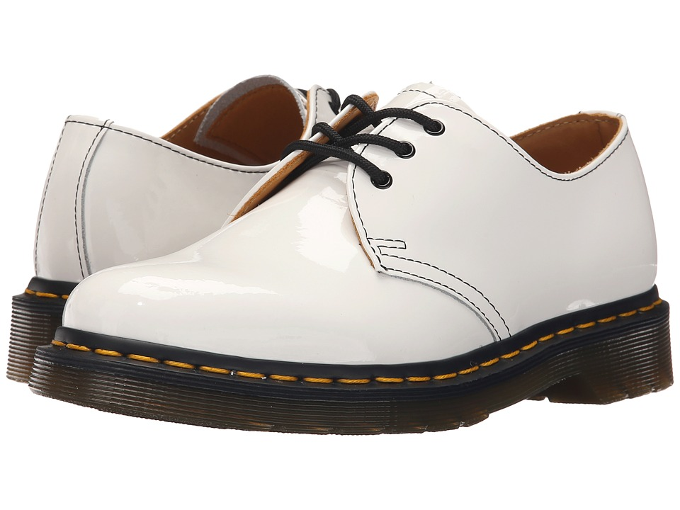 Dr. Martens - 1461 3-Eye Gibson (White Patent Lamper) Women's Lace up casual Shoes