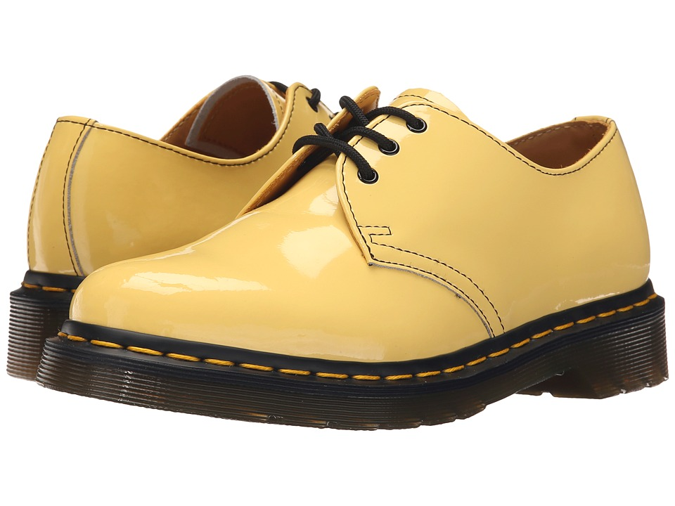 Dr. Martens - 1461 3-Eye Gibson (Acid Yellow Patent Lamper) Women's Lace up casual Shoes
