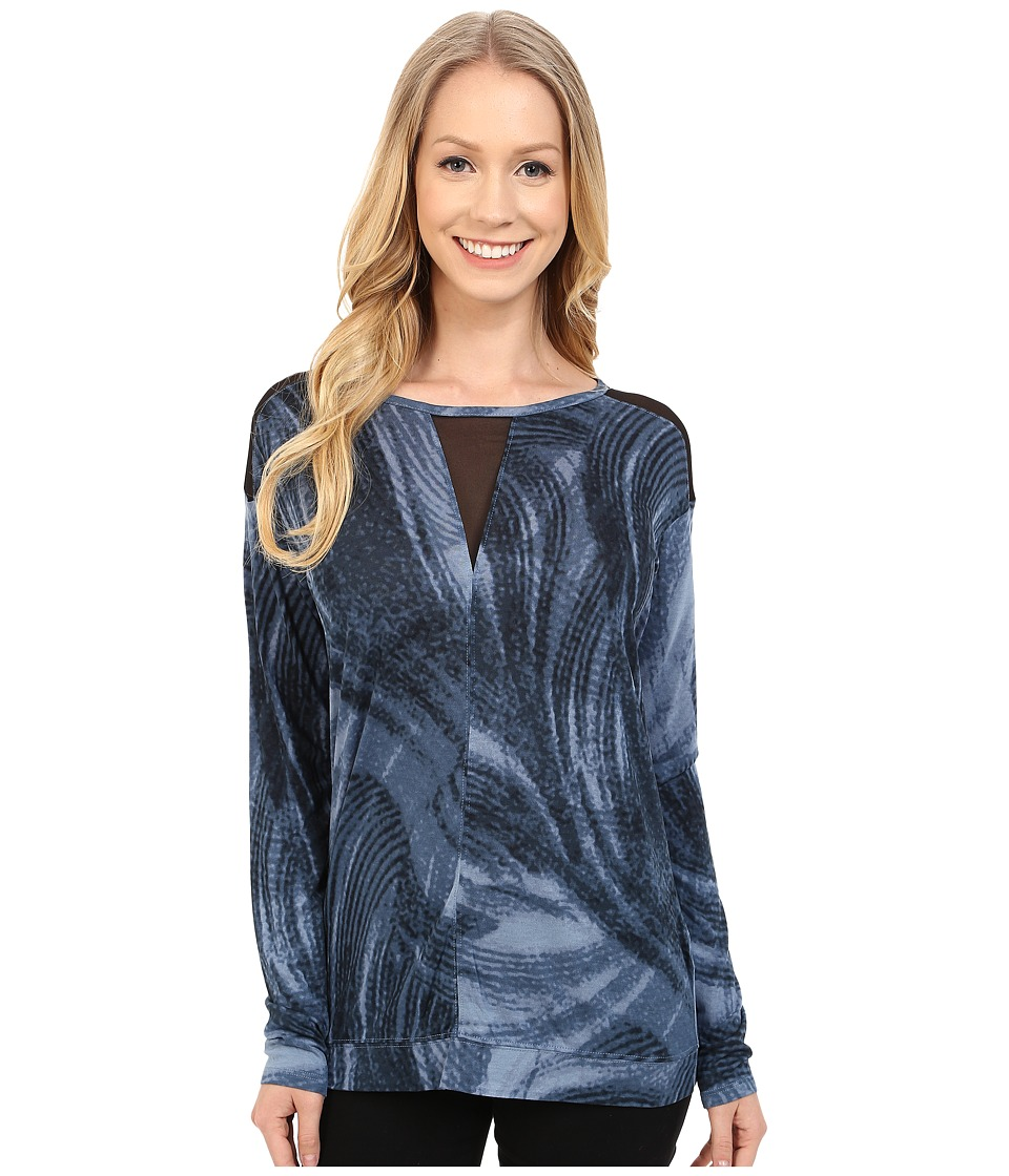 Calvin Klein Jeans - Long Sleeve Printed Voyeur Top (Midnight Navy) Women's Long Sleeve Pullover