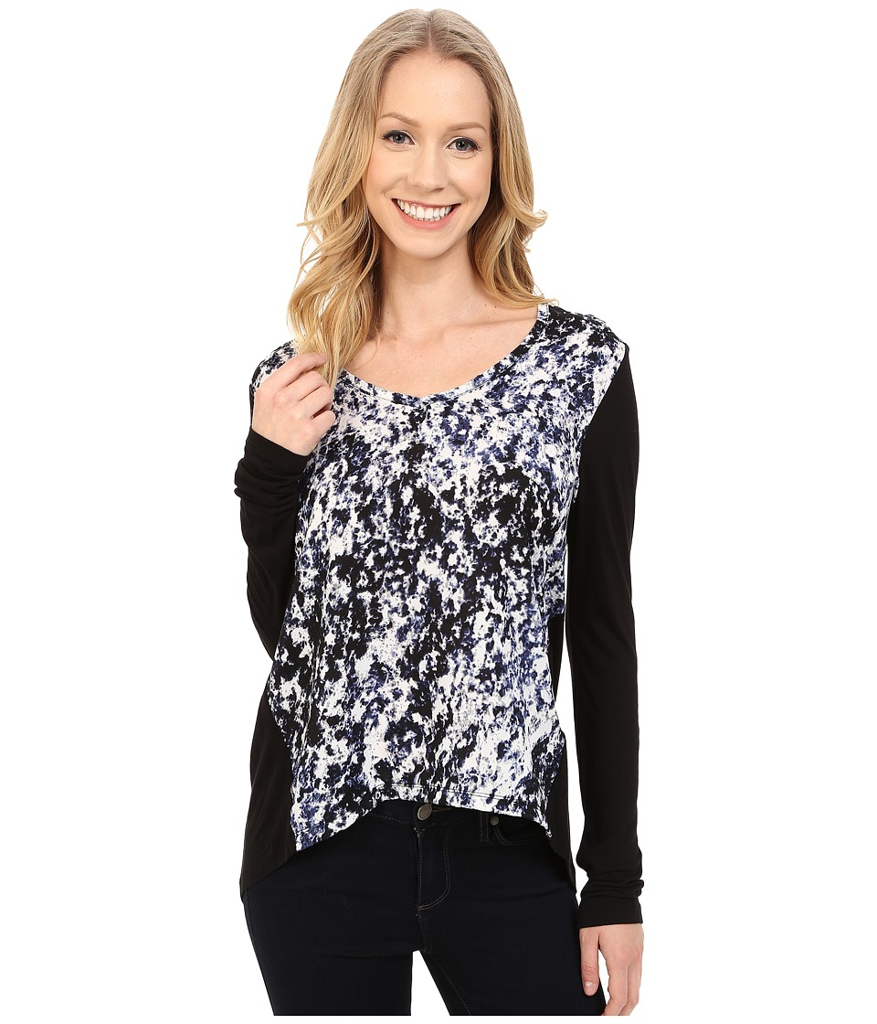 Calvin Klein Jeans - Printed Long Sleeve Woven Knit Mix Top (Indigo Night) Women