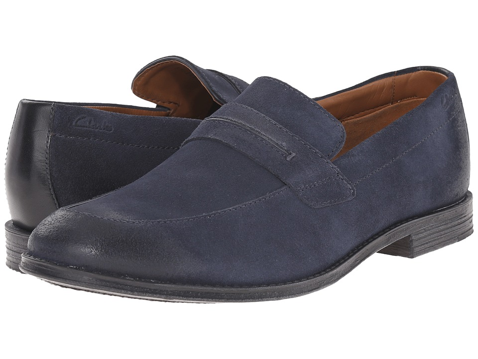 Clarks - Hawkley Free (Blue Combination) Men's Slip-on Dress Shoes