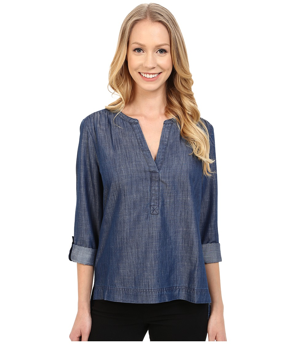 Calvin Klein Jeans - Cotton/Tencel Long Sleeve Sport Popover (Indigo) Women's Blouse