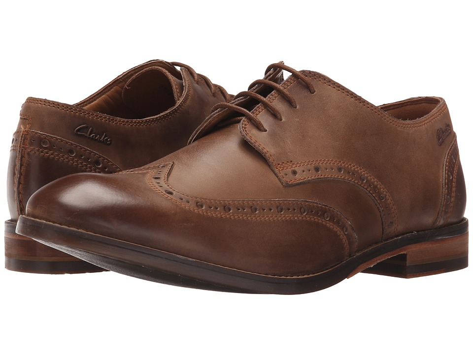 Clarks - Exton Brogue (Tobacco Leather) Men's Lace Up Wing Tip Shoes