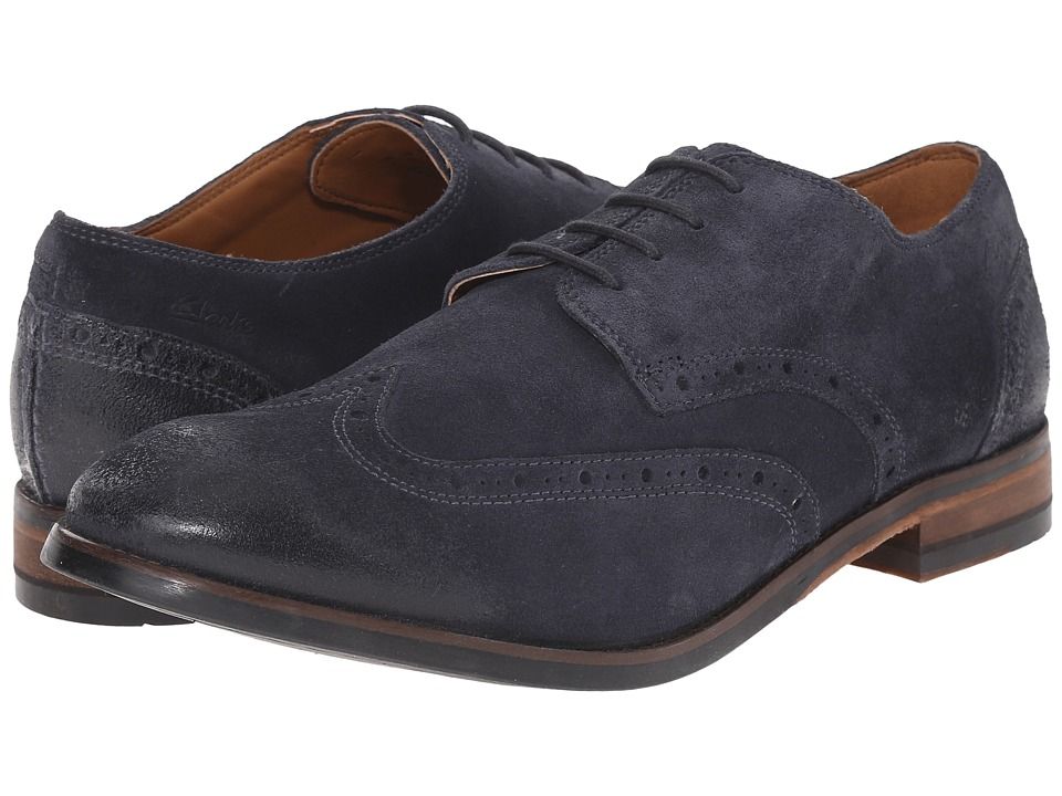 Clarks - Exton Brogue (Blue Suede) Men's Lace Up Wing Tip Shoes